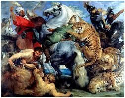 """Rubens: """"La chasse au tigre, au lion et au léopard"""". Vers 1616"""