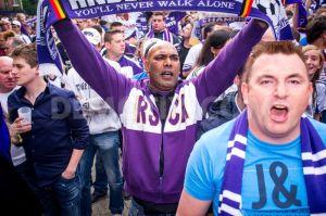 Les supporters d'Anderlecht pas à la fête ce soir.