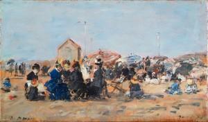 """""""Trouville, Scène de Plage à la Cabine"""" (1884/ Eugène Boudin) (C) Ville de Liège"""