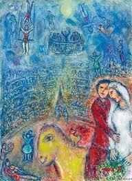 """""""Les Fiancés du Cirque"""" (1982) (c) Marc Chagall - """"Galerie Boulakia"""""""
