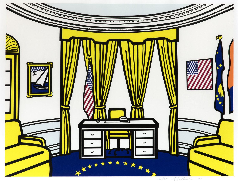 Roy Lichtenstein, The Oval Office, 1992 Lithographie offset, en jaune, bleu clair, orange, rouge, bleu foncé, noir et couche transparente, sur Reflect 86.4 x 96.5 cm Collection Lex Harding © Estate of Roy Lichtenstein / SABAM 2020