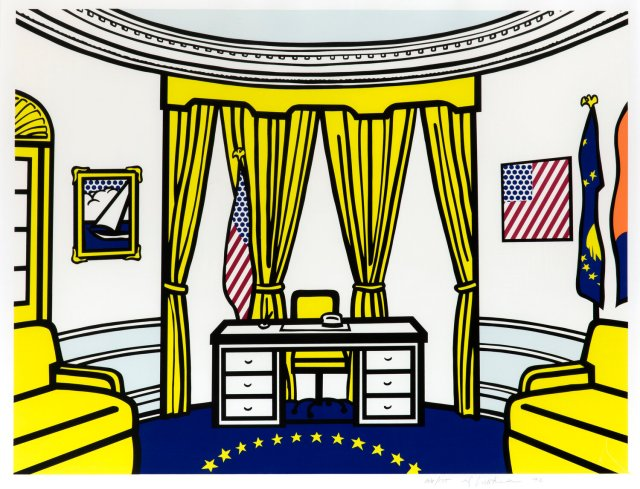 Roy Lichtenstein, The Oval Office, 1992 Lithographie offset, en jaune, bleu clair, orange, rouge, bleu foncé, noir et couche transparente, sur Reflect 86.4 x 96.5 cm Collection Lex Harding © Estate of Roy Lichtenstein / SABAM 2020