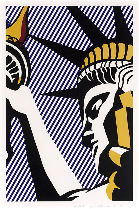 Roy Lichtenstein, I Love Liberty, 1982 Sérigraphie sur papier Arches 88 97.5 x 68.8 cm Collection Lex Harding © Estate of Roy Lichtenstein / SABAM 2020